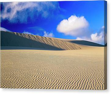 Rippled Sand And Dunes With Blue Sky Canvas Print by Robert L. Potts