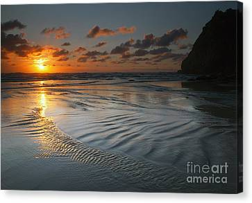 Ripples On The Beach Canvas Print by Mike  Dawson