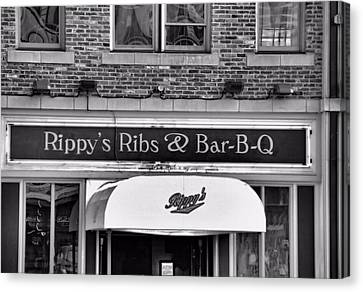 Downtown Nashville Canvas Print - Rippy's Ribs And Bar Bq by Dan Sproul