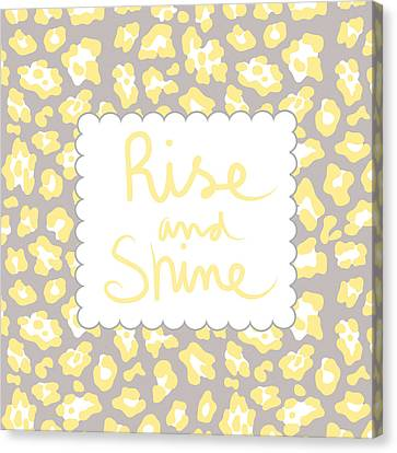 Rise And Shine- Yellow And Grey Canvas Print by Linda Woods