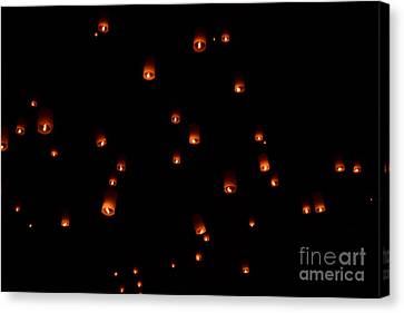 Rise Festival Lanterns 2014 Horizontal Sky Only Number One Canvas Print by Heather Kirk