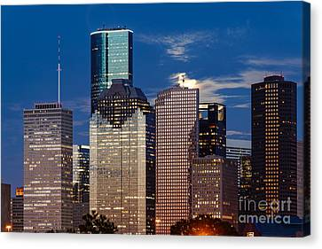 Rise Of The Super Moon Behind Downtown Houston Skyline - Houston Texas Canvas Print by Silvio Ligutti