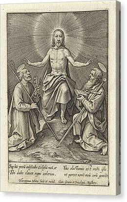 Risen Christ With Peter And Paul, Hieronymus Wierix Canvas Print