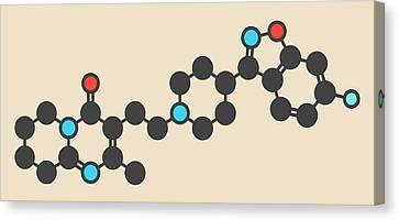 Bipolar Canvas Print - Risperidone Antipsychotic Drug Molecule by Molekuul