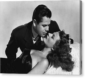 Rita Hayworth About To Be Kissed Canvas Print