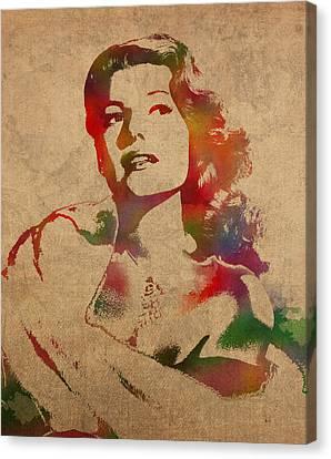 Rita Hayworth Hollywood Golden Era Actress Watercolor Portrait On Won Canvas Canvas Print