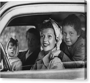 Rita Hayworth In Car Canvas Print by Retro Images Archive