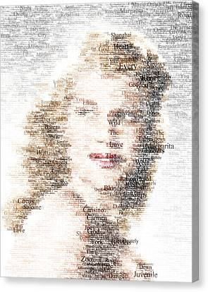 Rita Hayworth Typo Canvas Print by Taylan Apukovska