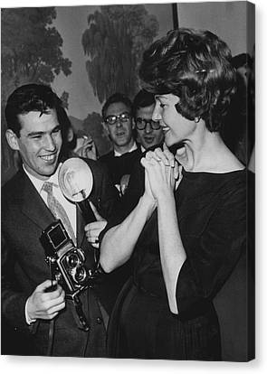 Rita Hayworth With Photographer Canvas Print