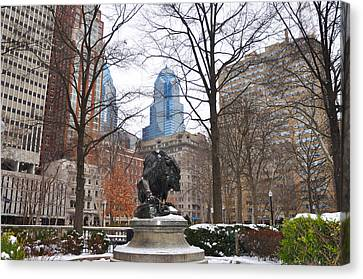 Rittenhouse Square In The Winter Canvas Print by Bill Cannon