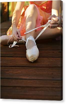 Tying Shoe Canvas Print - Rituals by Laura Fasulo
