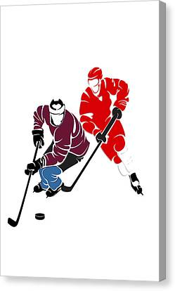 Skates Canvas Print - Rivalries Avalanche And Red Wings by Joe Hamilton