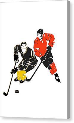 Rivalries Penguins And Flyers Canvas Print by Joe Hamilton