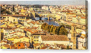 River Arno In Central Florence Canvas Print by Liz Leyden