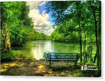 River Bench Canvas Print by Ed Roberts
