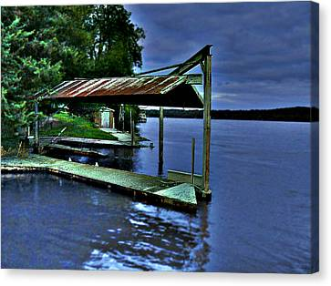 Canvas Print featuring the photograph River Blues by Lin Haring