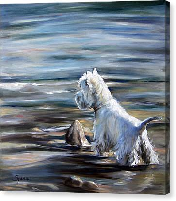 West Highland Canvas Print - River Boy by Mary Sparrow
