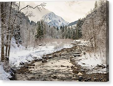Vorarlberg Canvas Print - River Breitach In Kleinwalsertal Austria In Winter With Snow by Matthias Hauser