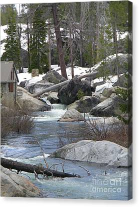 River Cabin Canvas Print by Bobbee Rickard