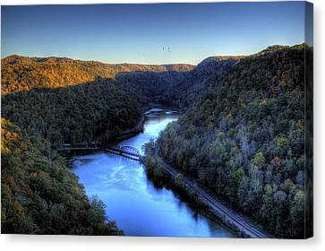 Canvas Print featuring the photograph River Cut Through The Valley by Jonny D