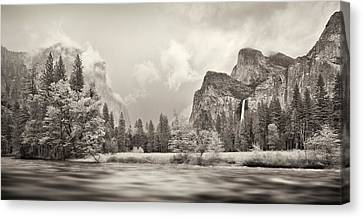 River Flowing Through A Forest, Merced Canvas Print by Panoramic Images