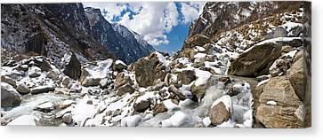 River Flowing Through Rocks, Modi Khola Canvas Print by Panoramic Images