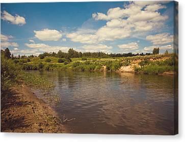 River Flows Canvas Print by Jenny Rainbow