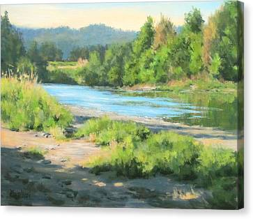 River Forks Morning Canvas Print by Karen Ilari