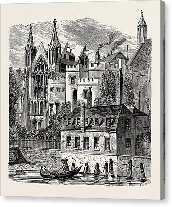 River Front Of The Old House Of Peers Canvas Print by English School