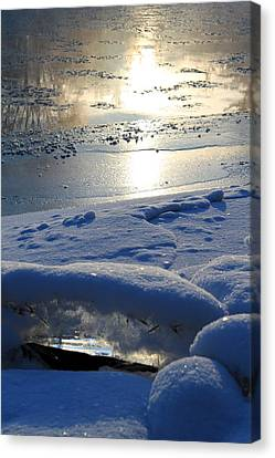 River Ice Canvas Print by Hanne Lore Koehler
