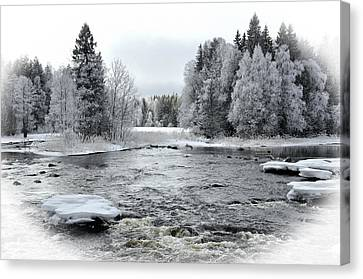 River In Winter. Textured Canvas Print by Conny Sjostrom