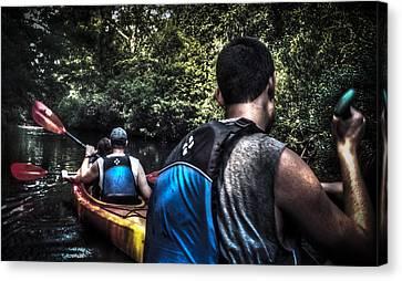 River Kayaking Canvas Print by Deborah Klubertanz