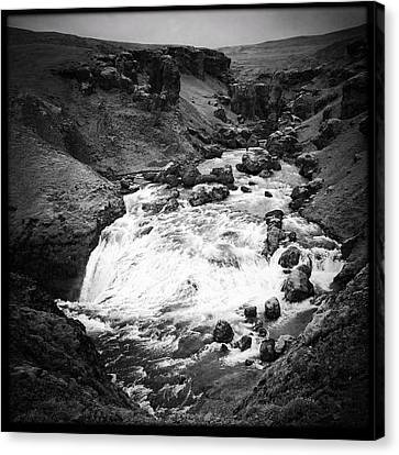 Landscapes Canvas Print - River Landscape Iceland Black And White by Matthias Hauser
