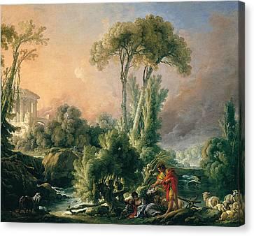 River Landscape With An Antique Temple Canvas Print by Francois Boucher