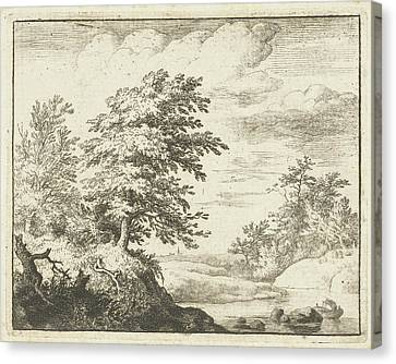 Rowboat Canvas Print - River Landscape With Rowboat, Print Maker Allaert Van by Allaert Van Everdingen
