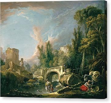 River Landscape With Ruin And Bridge Canvas Print by Francois Boucher