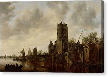 River Landscape With The Pellecussen Gate Near Utrecht Canvas Print