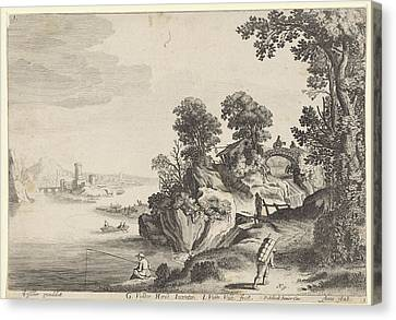 Country Roads Canvas Print - River Landscape With Travelers On Country Road by Jan Van De Velde (ii) And Pieter Schenk (ii)