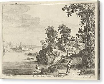 Country Roads Canvas Print - River Landscape With Travelers On Country Road by Jan Van De Velde (ii)