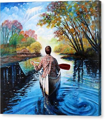 Canoe Canvas Print - River Of Dreams by John Lautermilch