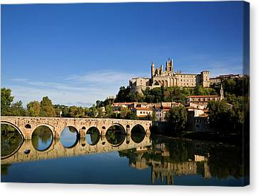 River Orb And St Nazaire Cathedral Canvas Print by Panoramic Images