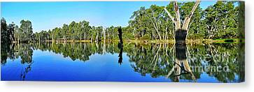 River Panorama And Reflections Canvas Print by Kaye Menner