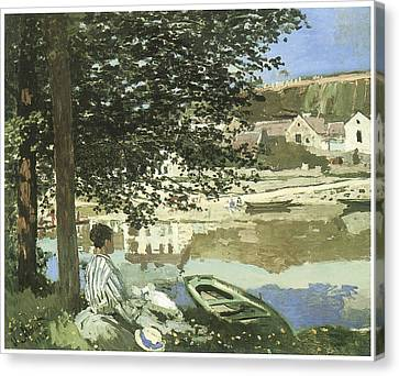River Scene At Bennecourt Canvas Print