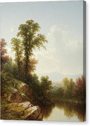 River Scene  Catskill Canvas Print by John William Casilear