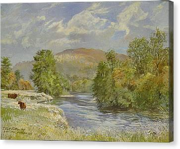 River Spey, Kinrara, 1989 Wc Canvas Print by Tim Scott Bolton