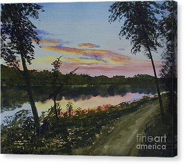 Canvas Print featuring the painting River Sunset by Martin Howard