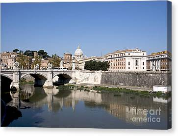 City-scapes Canvas Print - River Tiber With The Vatican. Rome by Bernard Jaubert