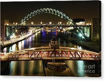 River Tyne At Night Canvas Print
