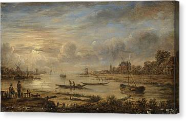 River View At Sunrise, Manner Of Aert Van Der Neer Canvas Print