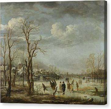 River View In The Winter, Aert Van Der Neer Canvas Print